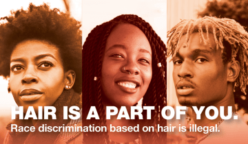 市人権委員会の啓蒙ポスター。「髪はあなたの一部」「髪を理由にした人種差別は違法」と書かれている