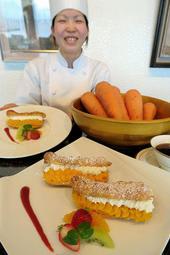 野菜をスイーツとして楽しめるカボチャとニンジンのエクレア=たつの市御津町黒崎
