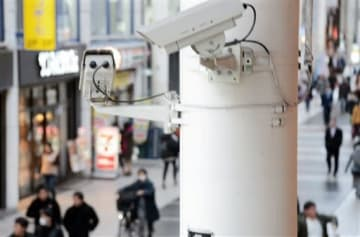 熊本市中央区の繁華街に設置された防犯カメラ