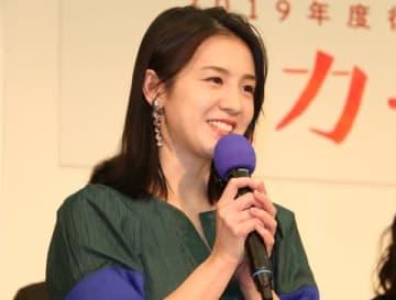NHK大阪放送局で行われた会見に出席した桜庭ななみさん