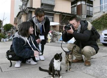 参加者に指導する猫写真家の森永健一さん(右)=上天草市