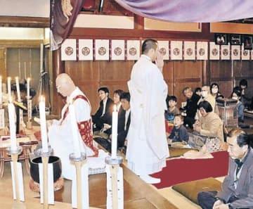 住職が神前で題目唱える 羽咋の日吉神社、無病息災願い