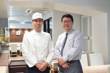 エムズターブルポンパドウルの平田店長(右)と山本シェフ