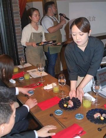 タチバナを使ったメニューが提供された試食会=20日、木更津市