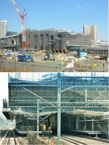 建設が進む高輪ゲートウェイ駅。線路の付け替え工事も進む