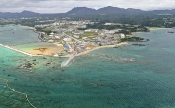 埋め立て工事が進む沖縄県名護市辺野古沿岸部=16日(小型無人機から)