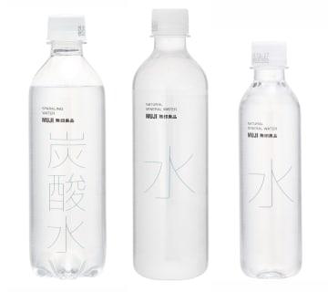 良品計画が自主回収を発表した(左から)430ミリリットル入り「炭酸水」、500ミリリットル、330ミリリットル入り「天然水」(同社提供)