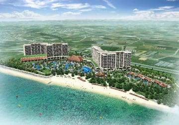 沖縄リゾートが糸満市名城ビーチ周辺に建設する「PIC琉球ホテルアンドリゾート」の完成予定図(国建提供)