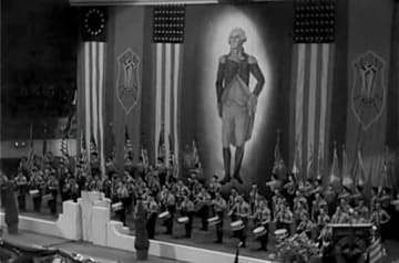 "1939年2月20日に行われた集会の様子(German American Bund rally New York, Madison Square Garden, Febr 1939; from ""The Nazis Strike"" 1943, photo: Department of Defense. Department of the Army. Office of the Chief Signal Officer)"