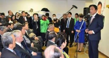 小川氏が事務所開き、自民友好団体も出席 福岡知事選