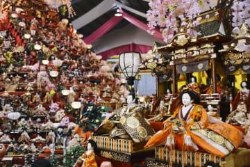 徳島県勝浦町の人形文化交流館で始まった「ビッグひな祭り」=23日午前