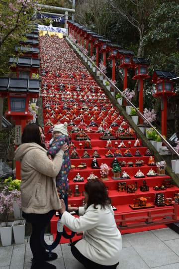 日本最大級のひな祭りイベント「2019かつうらビッグひな祭り」が22日、勝浦市で始まった。3月3日までの期間中、計約3万体のひな人形が神社や商店などを彩る。