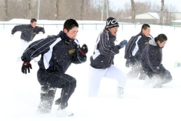 雪上練習を行う札幌大谷の選手たち【写真:編集部】