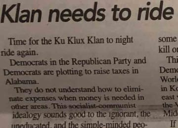 Goodloe Sutton KKK op-ed from Alabama newspaper Democrat-Reporter