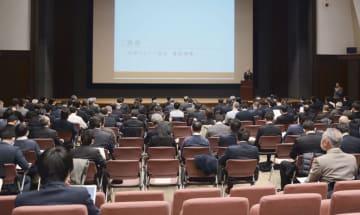 スポーツ庁が開いた「大学スポーツ協会」の設立準備委員会=25日午後、東京都千代田区