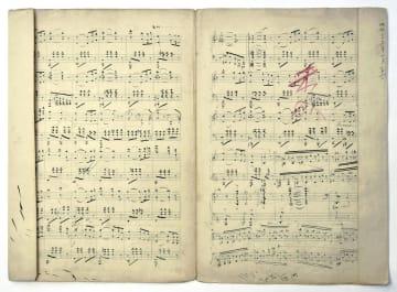 大分県竹田市に寄贈された、滝廉太郎の作曲途中のピアノ曲「憾」の楽譜。右部分に「未成」と書かれている(滝廉太郎記念館提供)