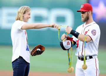 Katie Ledecky throws first pitch at Nationals Park