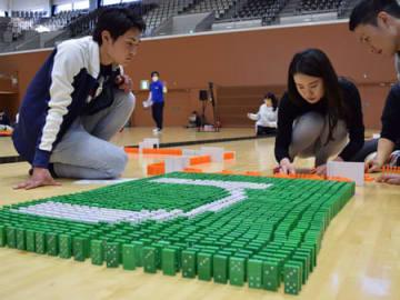真剣な表情でドミノを並べる大学生たち(京都市北区・島津アリーナ京都)