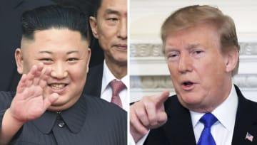 26日、ベトナム北部ドンダン駅に到着した北朝鮮の金正恩朝鮮労働党委員長(左、共同)と25日、ワシントンのホワイトハウスで演説するトランプ米大統領(ロイター=共同)
