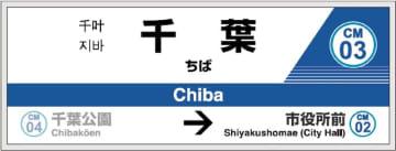 駅ナンバリングが導入された千葉都市モノレールの駅名表示板イメージ図(同社提供)