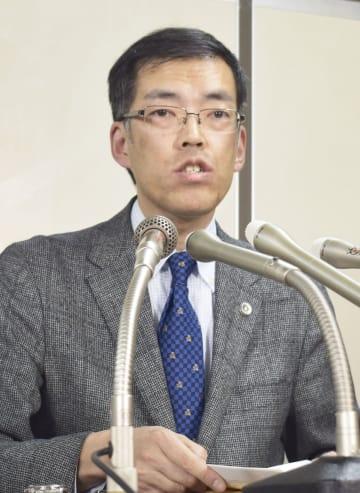 記者会見する福井弁護士会の島田広弁護士=28日午後、東京・霞が関の司法記者クラブ