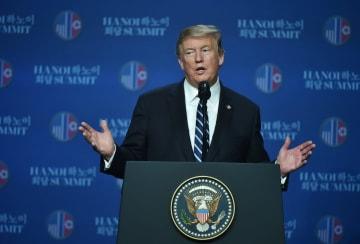 2回目の朝米首脳会談、合意文書署名に至らず トランプ氏が表明