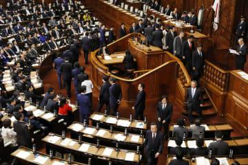衆院本会議で2019年度予算案の投票をする議員=2日未明