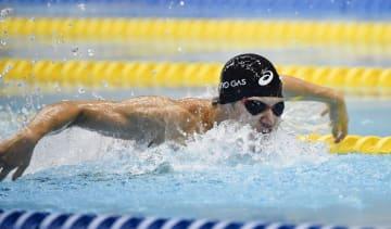男子100メートルバタフライ(視覚障害S11)で、アジア新で派遣標準記録を突破した木村敬一=静岡県富士水泳場