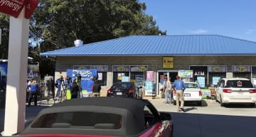 昨年10月、15億ドルの大当たりが出た米サウスカロライナ州の宝くじ売り場(AP=共同)