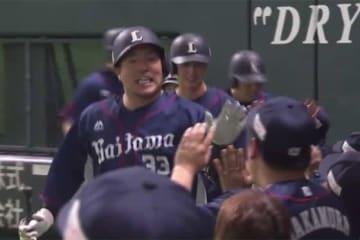 満塁本塁打を放った西武・山川穂高【画像:(C)PLM】