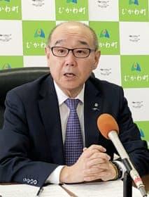 予算案を発表する竹中町長