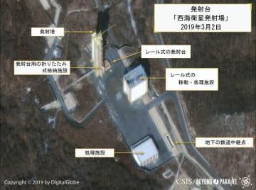 2日、北朝鮮の北西部東倉里で、ミサイル施設「西海衛星発射場」の再建を示す衛星写真(デジタルグローブ/CSIS提供・ロイター=共同)