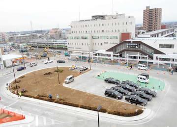 広さ3.5倍のロータリー式広場に生まれ変わった籠原駅北口(熊谷市提供)