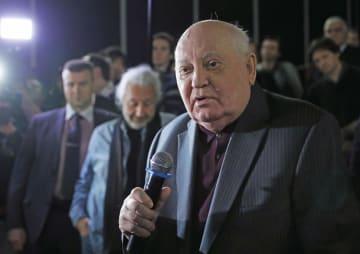 2018年11月8日、モスクワで行われた映画の上映会に出席したゴルバチョフ元ソ連大統領(タス=共同)