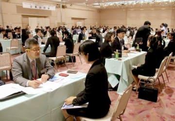 岡山市内で開かれたアジア人留学生を対象にした企業説明会