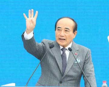 7日、台北市内で記者会見を開き、来年の台湾総統選に出馬表明した国民党の王金平前立法院長(中央通信社=共同)