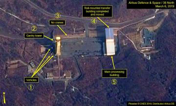 3月6日に撮影された西海衛星発射場の衛星写真。(1)車両(2)発射台(3)クレーン撤去(4)レール式移送施設が移動(5)主要作業施設(プレアデス(C)CNES 2019、エアバス・ディフェンス・アンド・スペース/38ノース提供・共同)