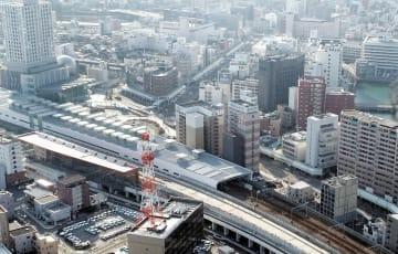 北陸新幹線開業へ向けたまちづくりが進むJR福井駅周辺=3月2日、福井県福井市日之出1丁目上空から日本空撮・小型無人機ドローンで撮影