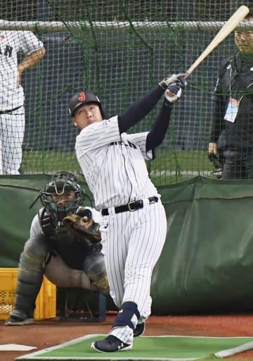 打撃練習する日本代表・岡本=京セラドーム