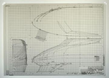 100系車両先頭部分の手書きの設計図面(JR東海提供)