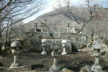 修復作業が終わった岡藩主中川家墓所。後方に大船山の山頂が見えるようになった=2月、竹田市久住町