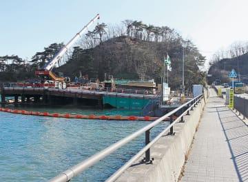 須賀地区で進む水門工事