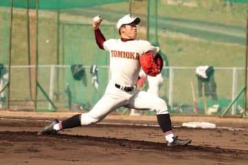 9回102球で完投した富岡西・浮橋幸太【写真:松倉雄太】