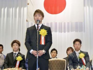 ボクシングの年間最優秀選手賞を受賞した井上尚弥=2019年2月8日、東京都内のホテル