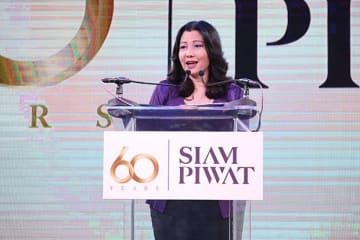 向こう5年間の投資計画を発表したサイアム・ピワットのチャダティップCEO=12日、バンコク(NNA撮影)