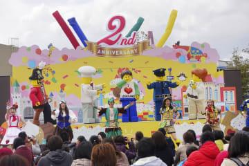 テーマパーク「レゴランド・ジャパン」が報道陣に公開した、4月の開業2周年を記念して開くイベント=14日午後、名古屋市