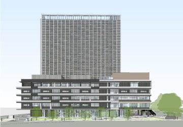 南側(中央橋側)から見た新市庁舎のイメージ(長崎市提供)