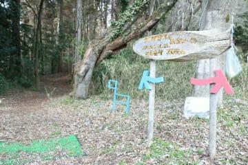 3月末で廃止される「九州オルレ別府コース」=14日、別府市の志高湖