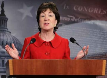 WASHINGTON, DC - FEBRUARY 01: U.S. Sen. Susan Collins (R-ME) speaks during a news conference on Capitol Hill February 1, 2011 in Washington, DC. Sen. Joseph Lieberman (I-CT) and Collins discussed the release of a report that says that less than...