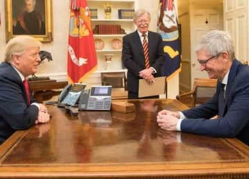Description: English: President Donald J. Trump and CEO of Apple Tim Cook in the Oval Office at the White House. April 25, 2018. In the background: John Bolton. Date: 25 April 2018. Source:...